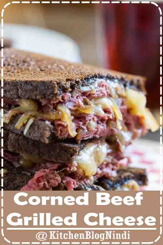 4.9★★★★★    Gooey melted cheese, caramelized onions cooked in beer, and salty corned beef make this the perfect St. Patrick's Day grilled cheese. ##Corned #Beef #GrilledCheese