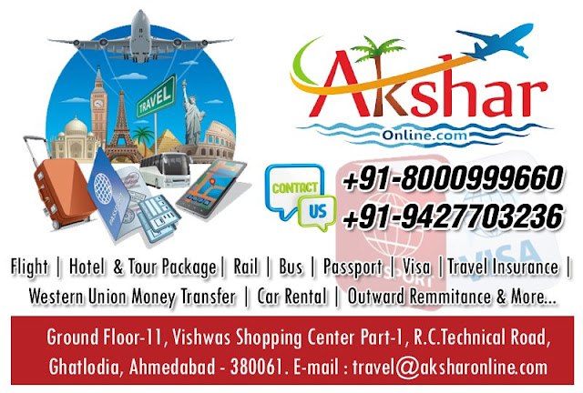 domestic and international air ticket booking, travel agency, hotel booking, tour packages, car rental, passport assistance, western union money transfer, money transfer, outward remiitance, tour packages, air ticket, flight booking, travel agent in ahmedabad, travel agent in gujarat, travel agency in ahmedabad, sola, ghatlodia, chanakyapuri, shayona city, thaltej, satellite, passport services, pcc application, visa services, tour packages in india, tour packages international, 8000999660, 9427703236, info@aksharonline.com, travel@aksharonline.com, mitesh patel, akhaj wala