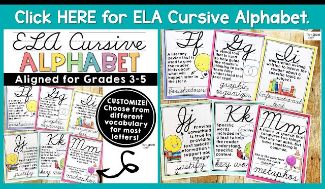 ELA cursive alphabet printable PDF