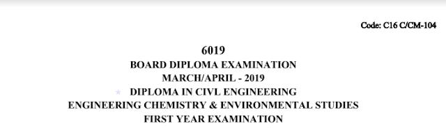 Sbtet Diploma Previous Question Paper Chemistry c16 civil March/April 2019