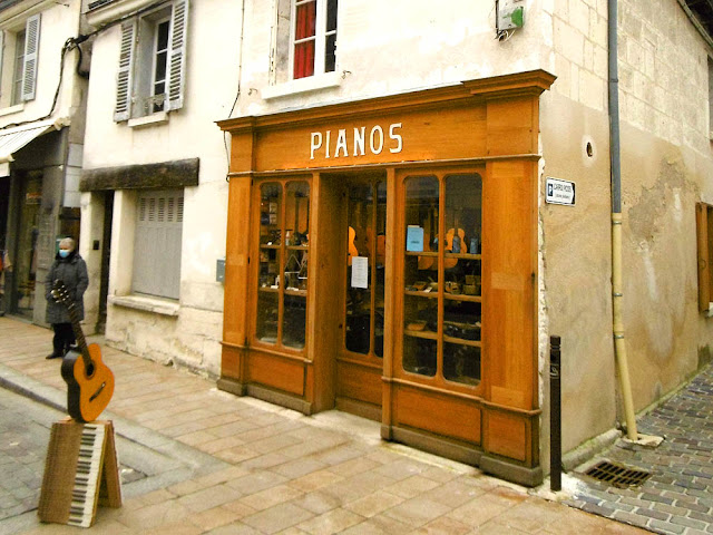Music shop, Loches, Indre et Loire, France. Photo by Loire Valley Time Travel.