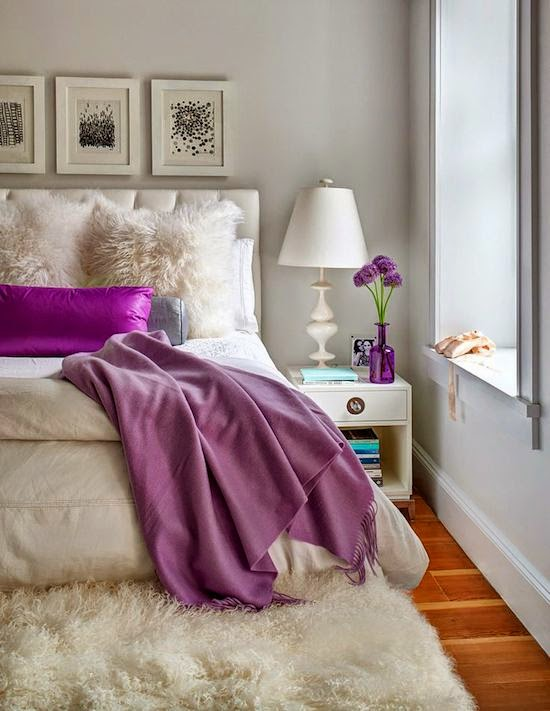 Purple Home Decor Bedroom Bedding White Shag Rug Throw Blanket Pillow Master Bedroom Bed Night Stand Purple Flowers Vase