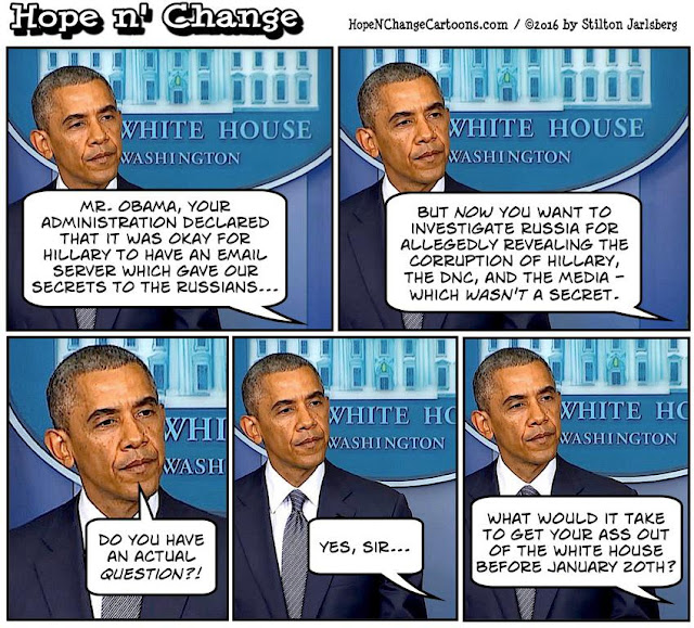 obama, obama jokes, political, humor, cartoon, conservative, hope n' change, hope and change, stilton jarlsberg, russia, hacking, investigation, asshole, hillary, election