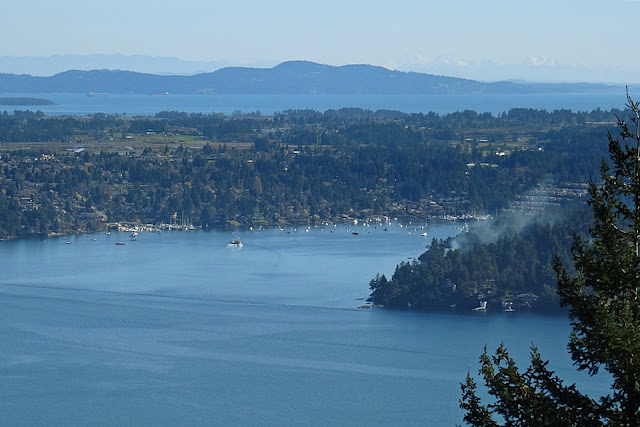 Brentwood Bay seen from the top of the Malahat...