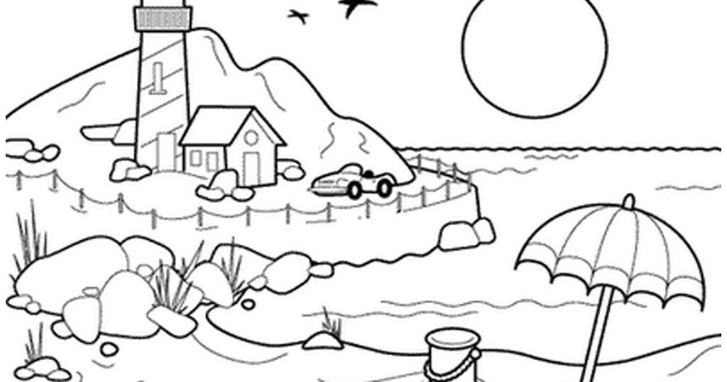 Mewarnai Pemandangan Laut Wwwpicswecom