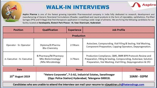 Aspiro Pharma walk in interview for Operator / Sr operator on 25th August 2019