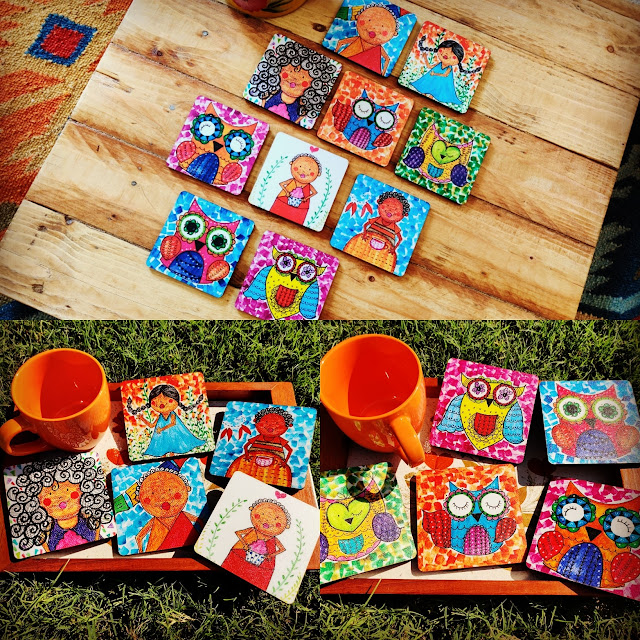 quirky art coasters