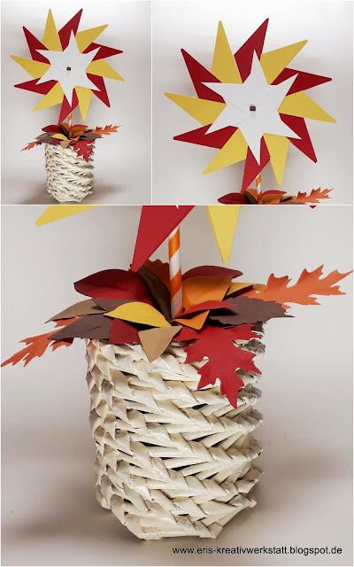 Herbstliche Tischdeko mit Stampin' Up: Windrad mit Herbstblättern in Zeitungsröllchen-Dose (Upcycling) Stampin' Up! www.eris-kreativwerkstatt.blogspot.de