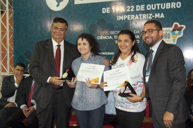 Governador Flávio Dino (E) prestigiou a abertura da Semana de Tecnologia em Imperatriz
