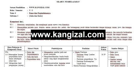 Silabus kelas 5 kurikulum 2013 terbaru revisi 2017 2018 2019 2020 Tema 6 www.kangizal.com