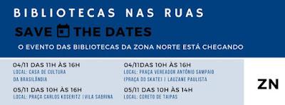 """Panfleto virtual da Biblioteca Érico Veríssimo sobre o evento """"Bibliotecas nas ruas"""""""