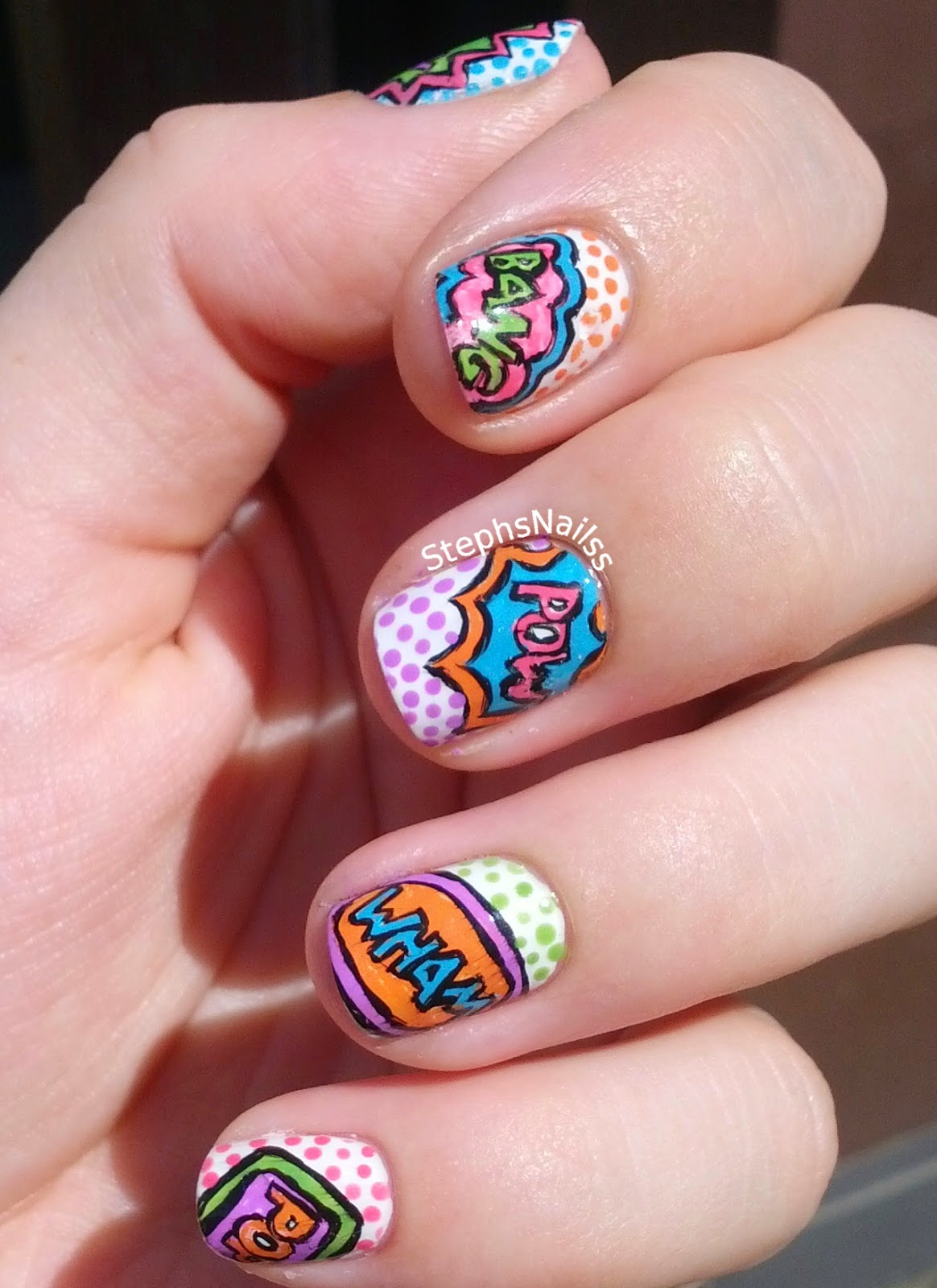 Wondrously Polished April Nail Art Challenge: StephsNailss: Comic Book Pop Art Nails Inspired By
