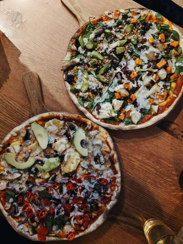 Vegan pizza selection from The Stable