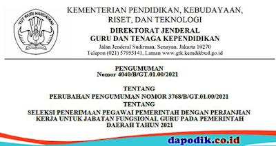 PENGUMUMAN PERUBAHAN PENGUMUMAN NOMOR 3768/B/GT.01.00/2021 TENTANG SELEKSI PENERIMAAN PEGAWAI PEMERINTAH DENGAN PERJANJIAN KERJA UNTUK JABATAN FUNGSIONAL GURU PADA PEMERINTAH DAERAH