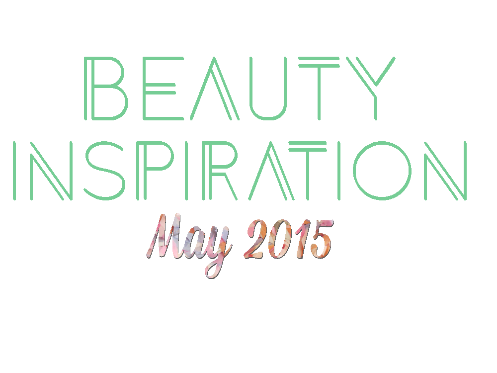 "Geometric Mint green text ""Beauty Inspiration"" Colorful script text ""May 2015"""