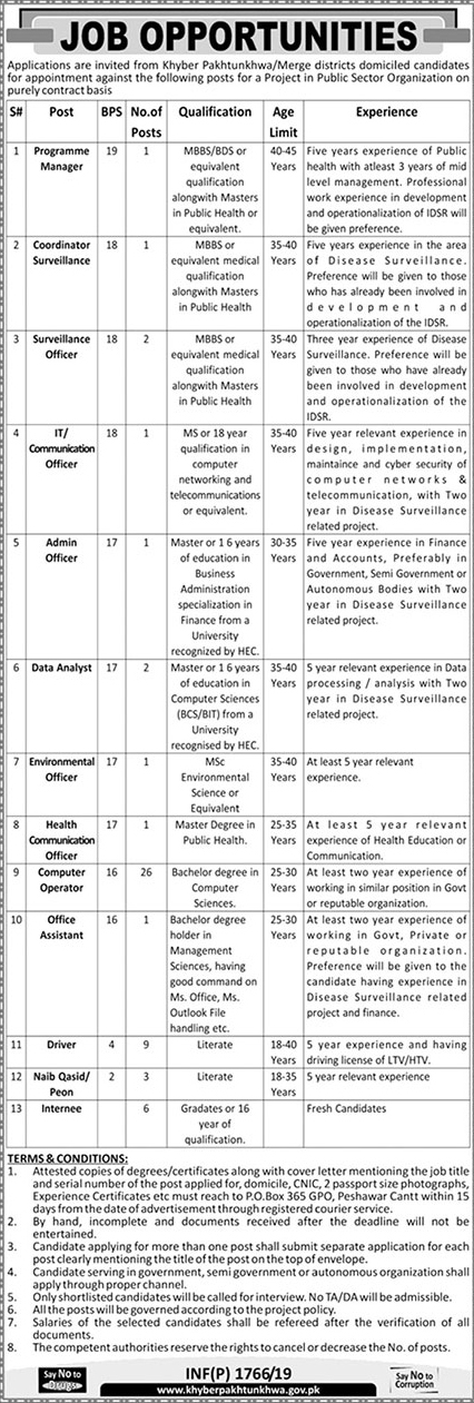 Latest Jobs in Khyber Pakhtunkhwa April 2019