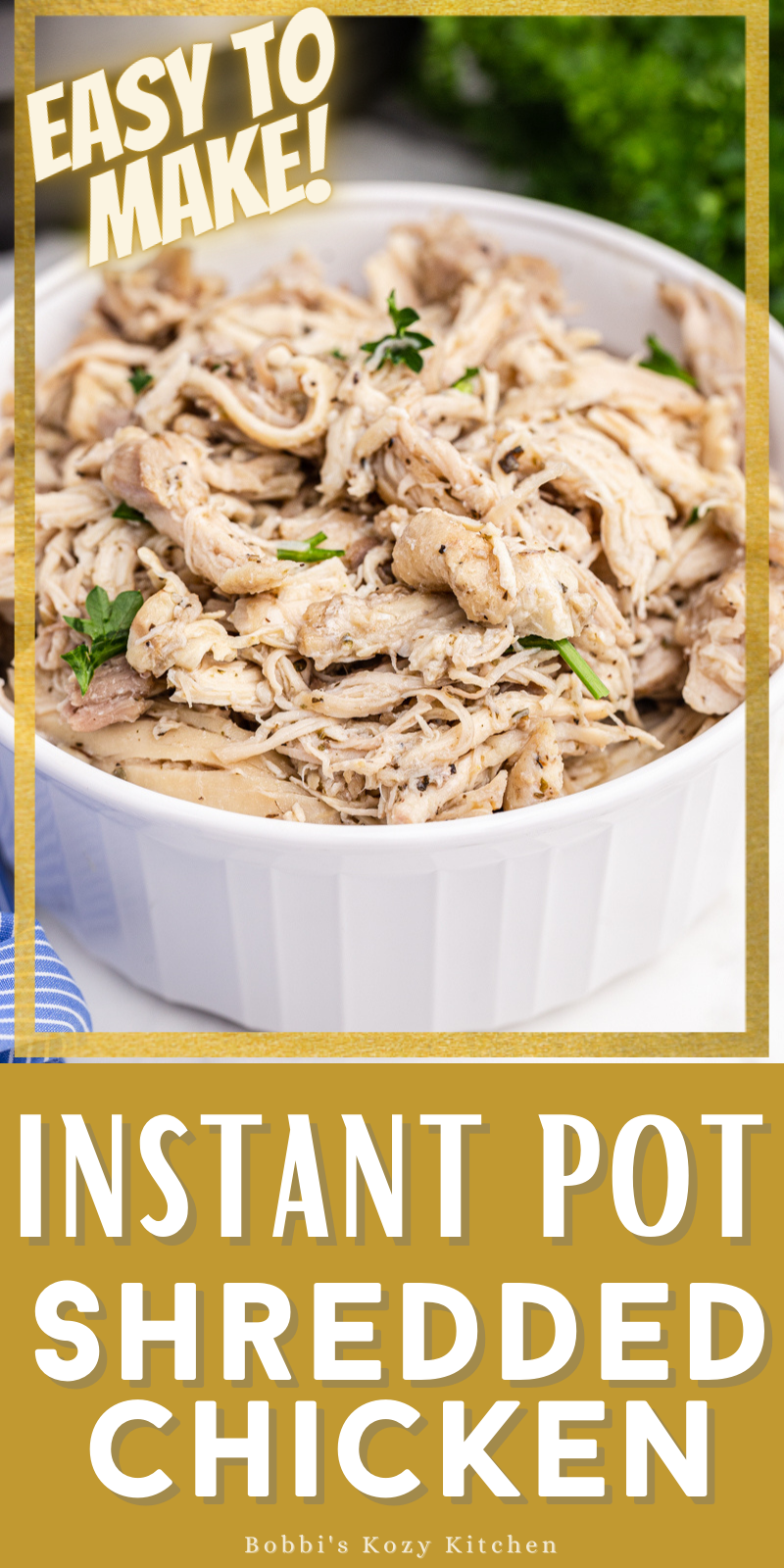Instant Pot Shredded Chicken - Shredded chicken is a great way to meal prep your keto or low carb meals for the week and it doesn't get any easier than cooking it in the Instant Pot! #keto #lowcarb #chicken #mealprep #instantpot #easy #recipe