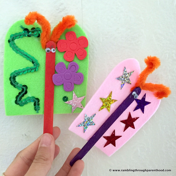 Make these fun and cute butterfly puppets