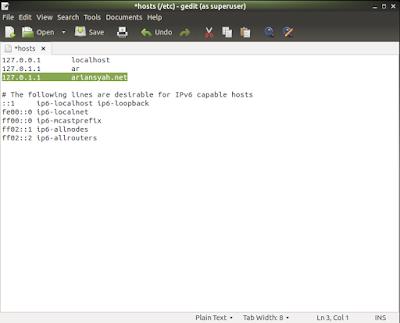 menambahkan ip dan url virtual host di linux