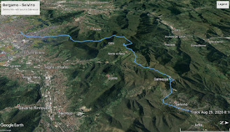 The hike route from Bergamo to Selvino.