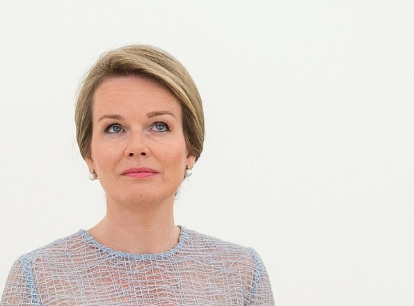 Queen Mathilde attended the presentation of the Queen Elisabeth Competition Prize at the Queen Elisabeth Music Chapel. Natan dress