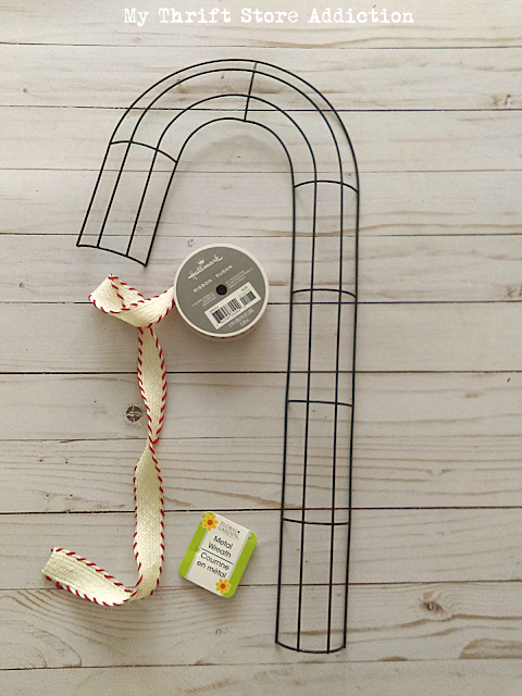 DIY dollar store candy cane wreath