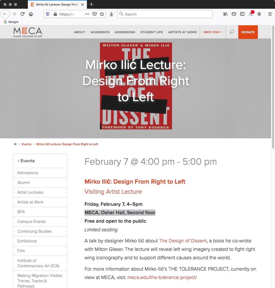 https://www.meca.edu/event/mirko-ilic/?fbclid=IwAR2zMndETzmxH8_NwxjkFaIJ09xdOlZQeLNj3pA_Iuz0PPccIoDn87mgs7Y