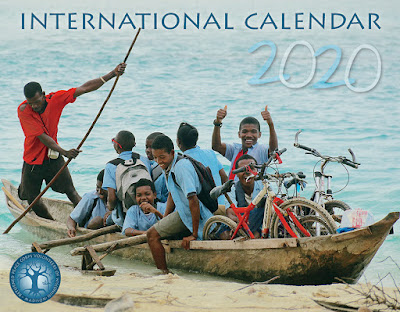 2020 International Calendar, with a cover photo from Madagascar showing children being ferried to school