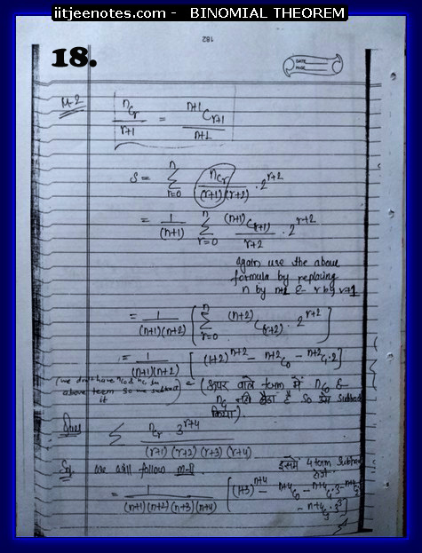 IITJEE Competiton Notes on Binomial Theorem9