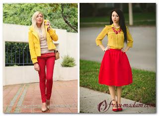 одежда сочетание красногго