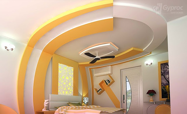 POP design for ceiling and wall in bedroom