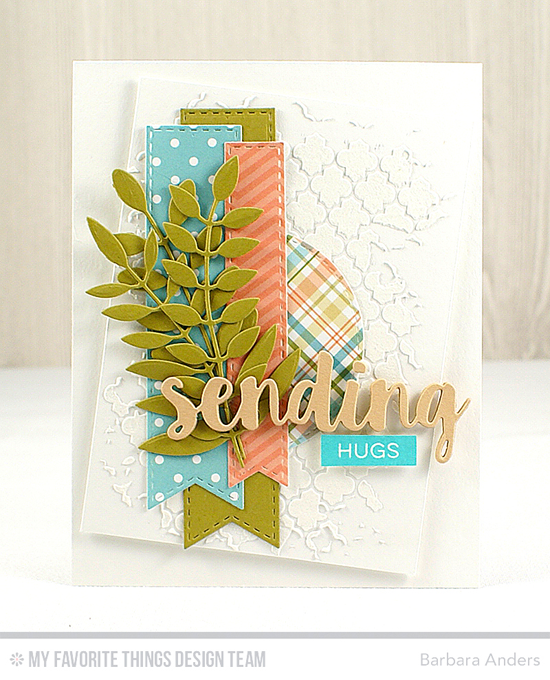 Handmade card from Barbara Anders featuring Label Maker Love stamp set, Sending Hugs, Bold Blooms, Stitched Fishtail Flag STAX, and Inside & Out Stitched Circle STAX Die-namics, and Moroccan Lattice stencil #mftstamps