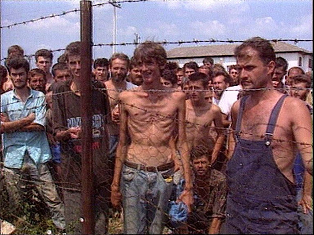 Screenshot from an ITN news story of the Serbian run Omarska concentration camp in Bosnia-Hertzegovina during the Bosnian War (1992)