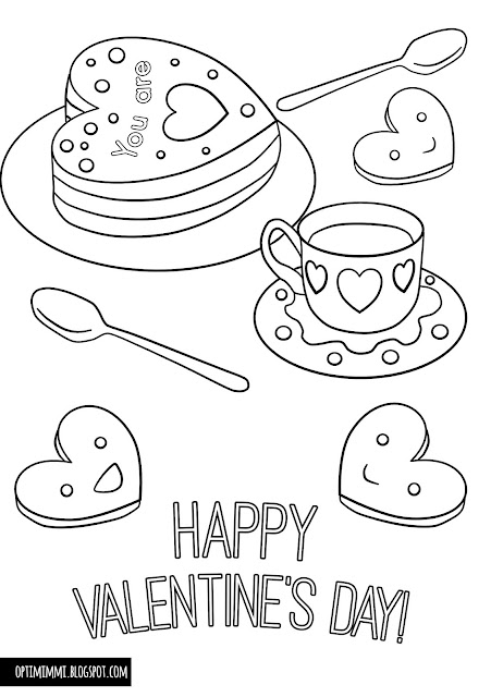 Happy Valentine's Day card with hearts, cake and tea/coffee (a coloring page) / Värityskuva ystävänpäivälle, sydämiä ja leivoksia (värityskuva)