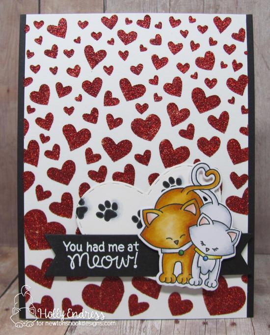 Kitty Valentine Card by Holly Endress | Newton's Sweetheart Stamp Set and Tumbling Hearts Stencil by Newton's Nook Designs #newtonsnook #handmade