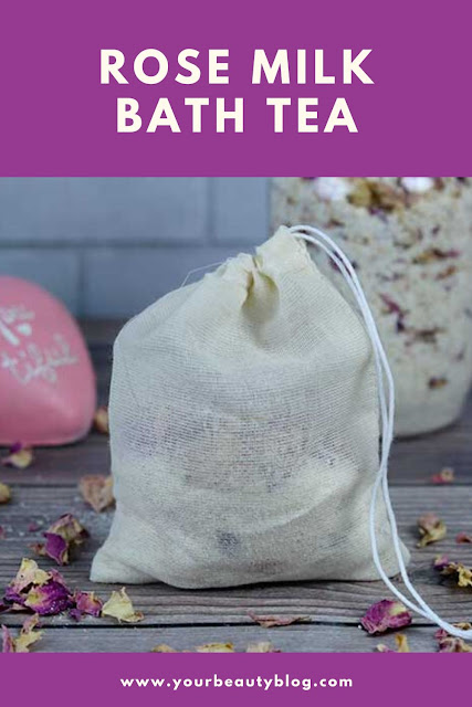 How to make a rose milk bath tea. this recipe has ingredients with many benefits for dry skin and eczema. It uses powdered coconut milk or powdered milk, oatmeal, rose petals, and essential oils that promote relaxation and stress relief. Place it in tea bags or muslin to soak in the tub. Easy homemade recipe for detox with herbal ingredients. Includes how to use and ideas for DIY bath products. #rose #milkbath