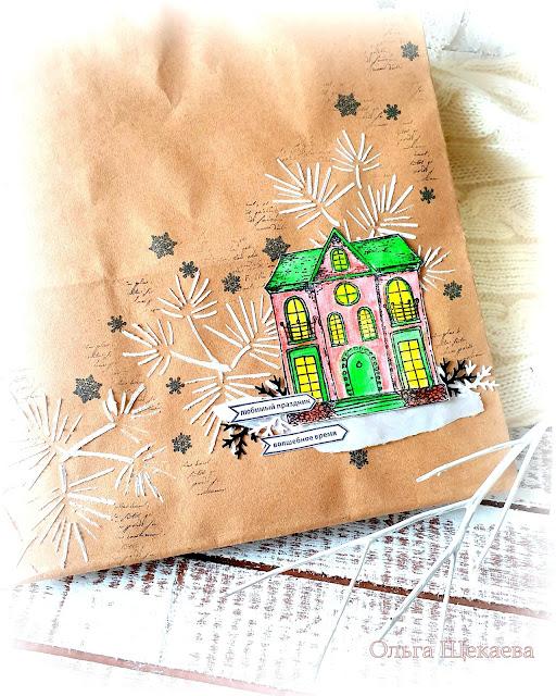 пакет, крафт, декор, новогодний,