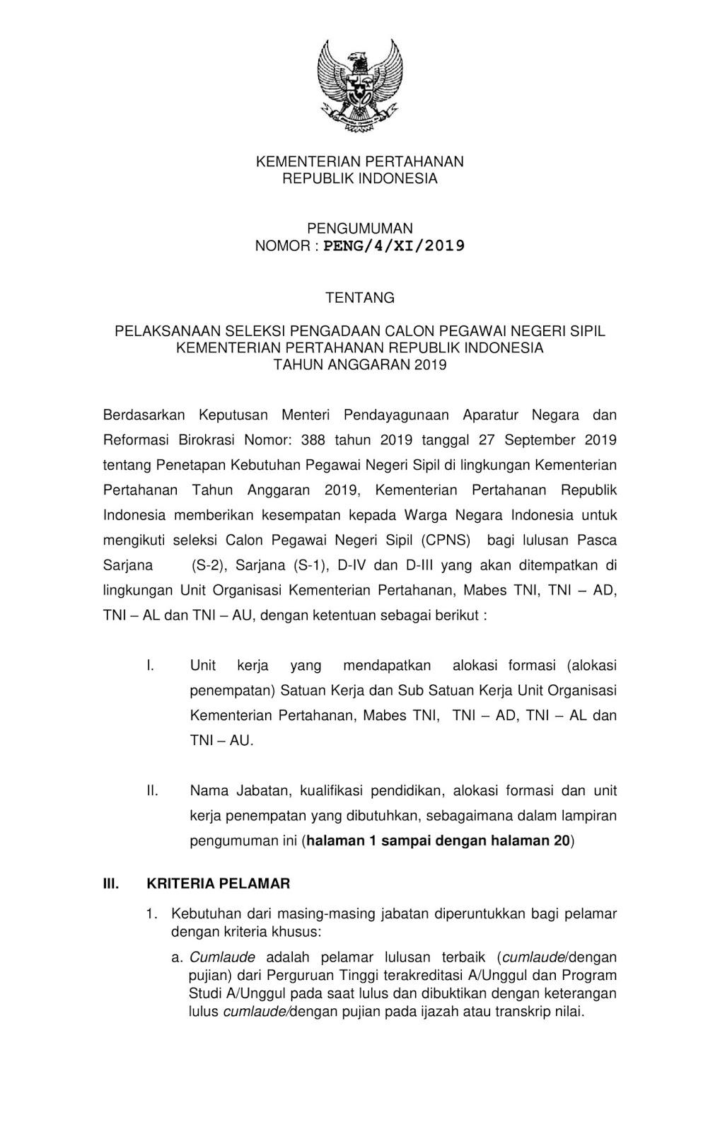 Lowongan CPNS Kementerian Pertahanan Tahun 2019 [552 Formasi]