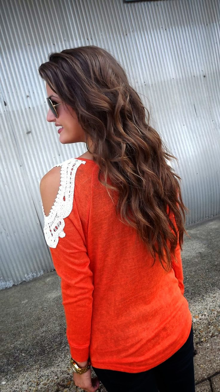 Women's Fashion pumpkin lace sweater.