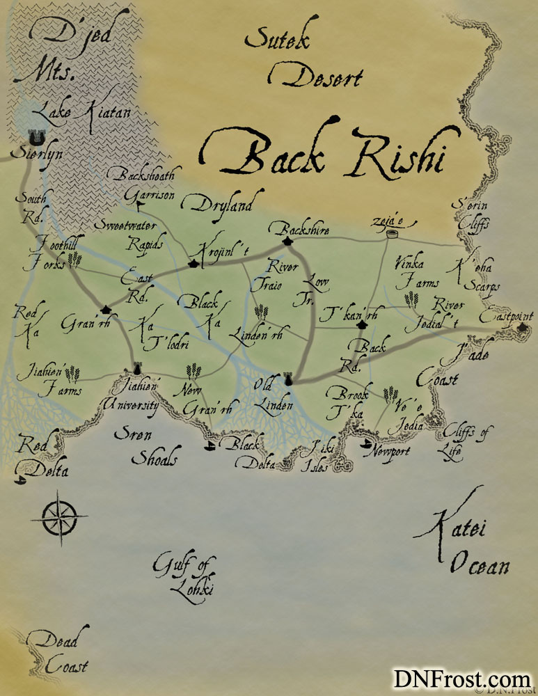 The Back Rishi: fertile river deltas in the elf heartland www.DNFrost.com/maps #TotKW A map for Awakening by D.N.Frost @DNFrost13 Part of a series.