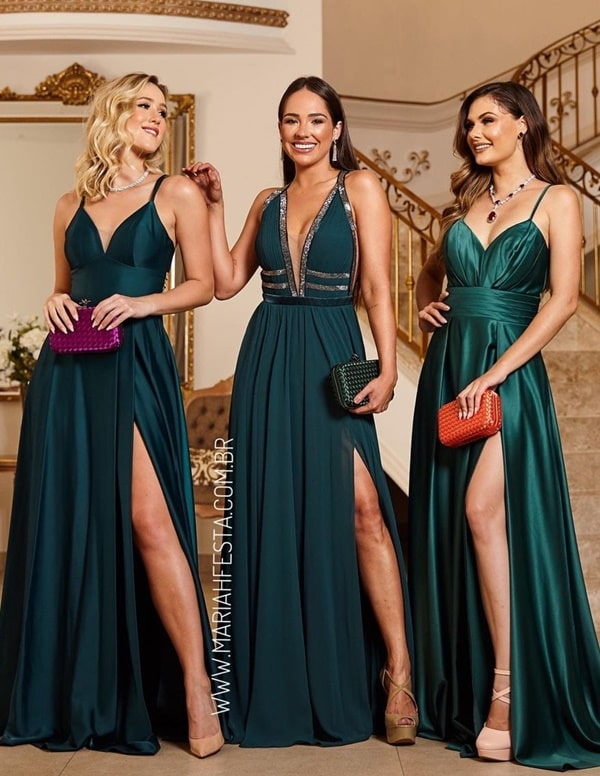 vestido verde esmeralda para madrinha de casamento