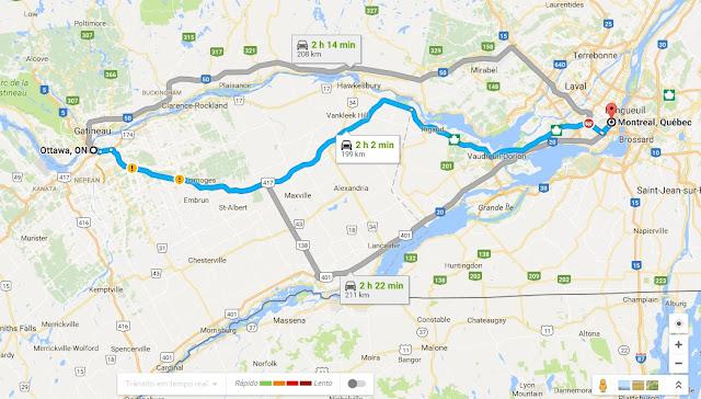 Como ir de Ottawa a Montreal de carro