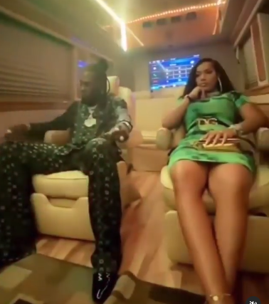 Burna Boy and his girlfriend, rapper Stefflon Don enjoy their night out in Lagos (video)
