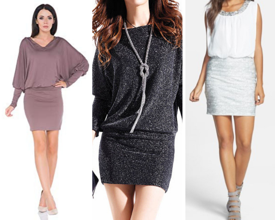 3a7e9da2a2c One of the best outfits for the inverted triangle is surely the dress with  the loose top and the tight skirt