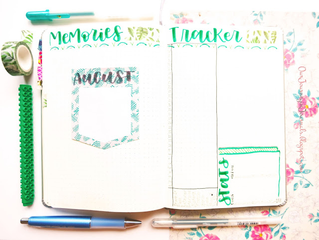 August bullet journal monthly memories and habit tracker spreads