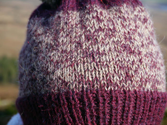 zoom laines brodeaux et beige tricotés ensemble