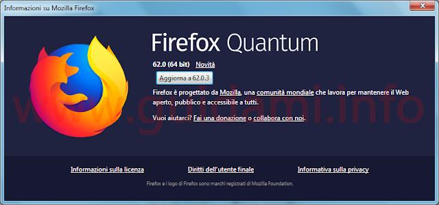 Firefox finestra Informazioni su Mozilla Firefox e pulsante Aggiorna versione