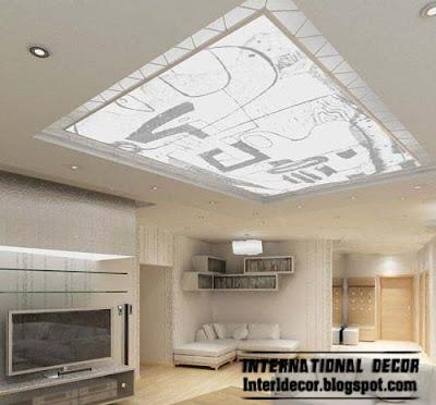 modern suspended ceiling design interior living room, unique false ceiling
