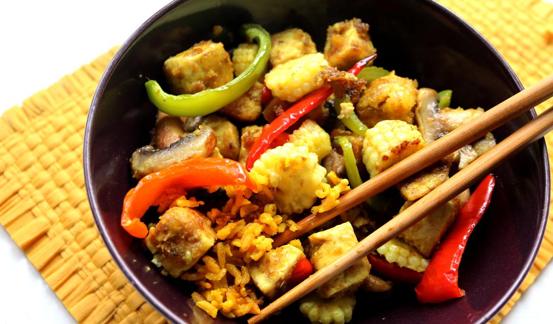 Crispy Madras Tofu Bites with Turmeric Basmati Rice & Stir Fried Veggies (Vegan recipe)