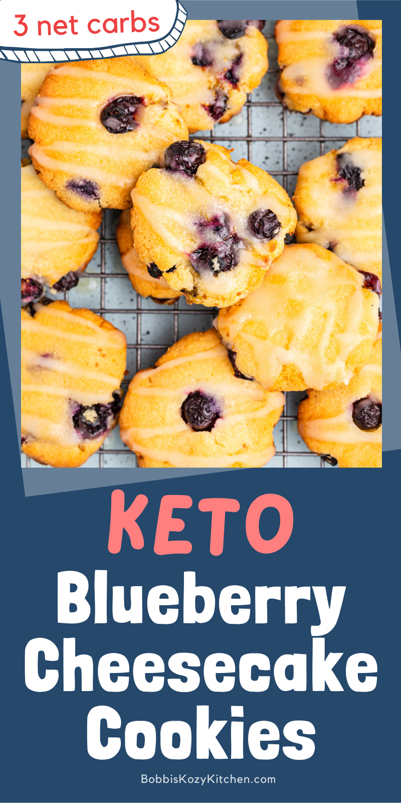 Keto Blueberry Cheesecake Cookies - These gluten-free keto blueberry cheesecake cookies are tender and delicious with a burst of blueberry and the tang from the lemon drizzle. #glutenfree #grainfree #keto #lowcarb #blueberry #lemon #cheesecake #cookies